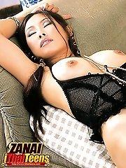 Breasty Beauty Zanai Strips On Couch